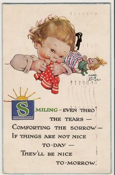 OLD POSTCARD:SMILIN EVEN THRO THE TEARS, CHILD-MABEL LUCIE ATTWELL | eBay