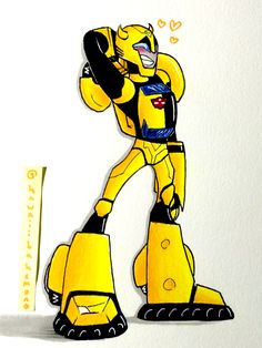 Drawn by @kawaiibakemono and inspired by Transformers Animated Precious, fast-talking ball of sunshine right here YA BEE, BUMBLEBOI