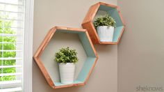Make your own storage with geometric wall shelves. An artistic way to store your stuff!