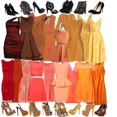 Clothes of varying shades of brown and red.