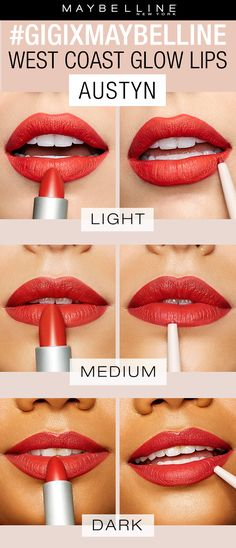 The gigixmaybelline West Coast Glow collection by Gigi Hadid features three gorgeous red lipstick shades perfect for a pop of color. The shade 'Austyn' is a orangey red color that flatters all complexions. You can purchase as either a lip kit or separately as a lipstick or a lip liner. Exclusively at Ulta Beauty!