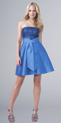 Blue Satin Charming Embroider Strapless Simple Design Tea Length Cocktail Dress