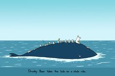 Drunky Bear Takes the Kids on a Whale Ride 12x18 Art Print. $25.00, via Etsy.
