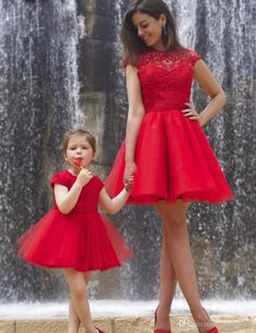 Lovely Red Lace Mother And Daughter A Line Party Dresses With Sleeve Tulle Scoop Flower Girl Dresses Customized Vestidos Flower Girl Dresses Sleeveless Flower Girl Dresses Girls Communion Dresses Online with $74.29/Piece on Mfsdresses's Store | DHgate.com