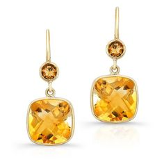Anne Sisteron  14KT Yellow Gold Citrine Cushion Cut Earrings ($350) ❤ liked on Polyvore featuring jewelry, earrings, gold, gold pendant, gold pendant jewelry, yellow gold earrings, yellow gold jewelry and earring pendants
