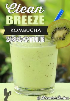 Try our free green smoothie challenge! clean breeze kombucha green smoothie recipe this clean breeze flat-belly green smoothie with kiwi, cucumber, Anti Bloat Smoothie, Kiwi Smoothie, Smoothie Blender, Smoothie Detox, Healthy Green Smoothies, Good Smoothies, Breakfast Smoothies, Healthy Soup, Healthy Drinks