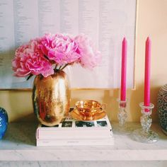 Pink & Gold Décor. I like this with navy for a girl's only room