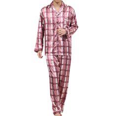 New Imitation Silk Men Pajamas Sets Sleepwear Male Homewear Spring Autumn Pijama Grid Sleepwear Nightwear pyjama homme