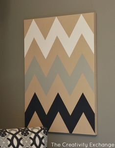 DIY Chevron Canvas Art Tutorial with Free Printable Stencil {The Creativity Exchange}