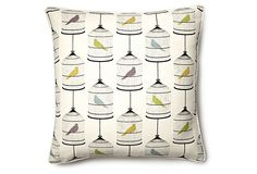 Birds 18x18 Pillow, White/Multi on OneKingsLane.com