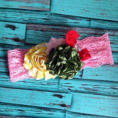 Green Yellow Pink Red Lace Headband-M2M Headband-Cake Smash-Birthday Headband-Newborn Headband-OTT Headband-Baby Headbands by LosBowtique on Etsy https://www.etsy.com/listing/192939101/green-yellow-pink-red-lace-headband-m2m