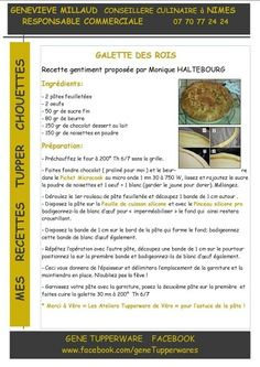 Galette des rois Tupperware Pressure Cooker, Tupperware Recipes, Slow Cooker, Chocolate, Impression, Muffins, Kitchen, Illustrated Recipe, Flat Cakes