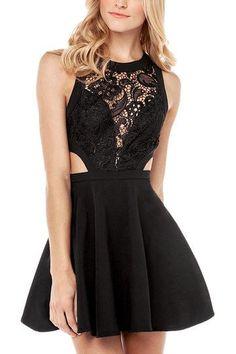 Black Crochet Lace Skater Dress