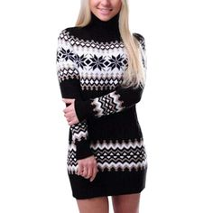 Women Christmas Snowflake Printed Long Sleeve Turtleneck Sweater Dress Straight Winter Polyester Princess Dress