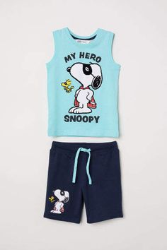 Set with a tank top and shorts in soft cotton jersey. Tank top with flock-print design at front. Shorts with an elasticized drawstring waistband and motif o Junior Girls Clothing, Baby Kids, Baby Boy, Girl Outfits, Fashion Outfits, H&m Online, Fashion Online, Kids Fashion, Shorts