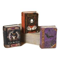 """5.75"""" Light Up Resin Witches Spell Potion Books Halloween Decoration Prop"""