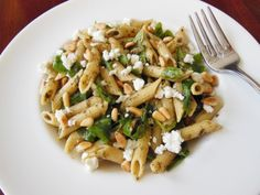 Pesto and Arugula pasta with goats cheese and toasted pine nuts. Pin It Party #3 - Chelsea's Healthy Kitchen