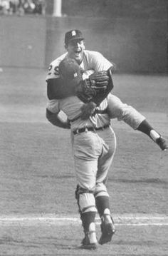 1968:  DETROIT TIGERS (4) vs. ST. LOUIS CARDINALS (3); [pictured] detroit pitcher, mickey lolich and catcher bill freehan, game 7; lolich claims 3 complete-game wins, striking out 21, with 1.67 era; cardinal bob gibson strikes out 35 over 3 games, including series record 15 in one game Detroit Sports, Detroit Tigers Baseball, Detroit Michigan, Baseball League, Baseball Boys, Baseball Stuff, Detriot Tigers, Detroit Free Press, Sports Pictures