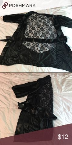 Robe, lingerie Blackest, black laced lingerie for night! Super sexy and great to wear if you wanna impress a significant other! Great with pj's comes with a tie size M Intimates & Sleepwear Robes