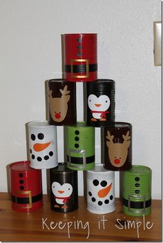 Christmas Party Game -Bowling Cans Keeping it Simple: Christmas Bowling Cans tutorial Keeping it Simple Christmas Fayre Ideas, Christmas Games For Family, Christmas Carnival, Christmas Party Games, Easy Christmas Crafts, Christmas Activities, Simple Christmas, Holiday Fun, Christmas Holidays