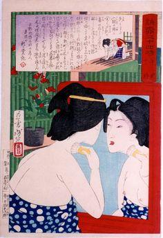 Yoshitoshi (1839 - 1892) (24 Hours with the Courtesans of Shimbashi and Yanagibashi) - Geisha powdering neck at mirror.