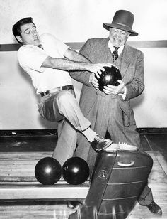 "Classic Hollywood | Los Angeles Times Here's a crazy photo from the Los Angeles Times files of ""The Real McCoys"" stars Richard Crenna and Walter Brennan, who was born on July 26, 1894, clowning around at a bowling alley."