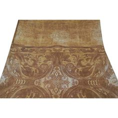 Vintage Indian Saree Pure Silk Printed Fabric Décor Craft Wrap Used Brown Sari