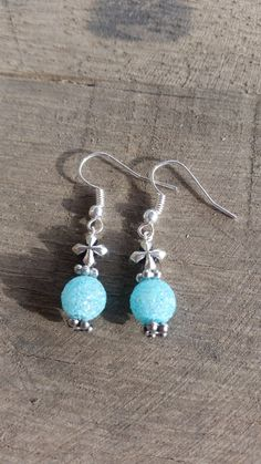 Blue Glitter & Silver Cross by JennJDesigns on Etsy