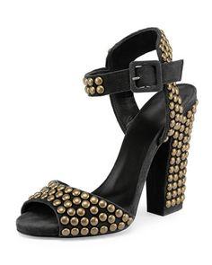 ffa0e869087 Giuseppe Zanotti Studded Suede Chunky-Heel Sandal