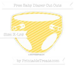 Mustard Yellow Diagonal Striped  Extra Large Baby Diaper Cut Outs