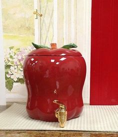 Tuscany Red Apple Shaped Kitchen Decor, Ceramic Water/Beverage Dispenser 87435 by ACK Apple Kitchen Decor, Kitchen Decor Sets, Red Kitchen, Kitchen Themes, Kitchen Colors, Kitchen Ideas, Kitchen Hacks, Kitchen Interior, Ceramic Canister Set