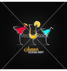 Free cocktail summer party design menu background vector