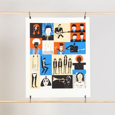 """'Musicians' screenprint to fit a standard 40""""X50"""" frame (frame not included). Design by Rob Hodgson. Hand printed in the UK onto a white fine art paper."""