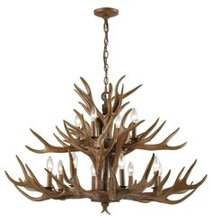 Elk Lighting Elk 12 Light Chandelier In Wood BrownThe Elk collection will give any space the feeling of the great outdoors. Finished in Wood Brown. Antler Chandelier, Rustic Chandelier, Chandelier Lighting, Outdoor Chandelier, Round Chandelier, Chandelier Ideas, Lighting Inc, Elk Lighting, Cabin Lighting