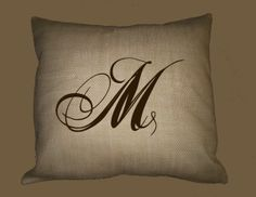 I need 2 of these... Burlap Pillow Slip Dual Font Initial Monogram by WhimsyFrills, $28.00