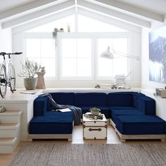 Cushy Lounge Ottoman, Lustre Velvet Dusty Indigo, In-Home - blue - Furniture - Sofas + Sectionals - Pottery Barn Teen Lounge Seating, Playroom Seating, Corner Chair, Pottery Barn Teen, Yard Design, House Design, Armless Chair, Bedroom Furniture, Furniture Ideas