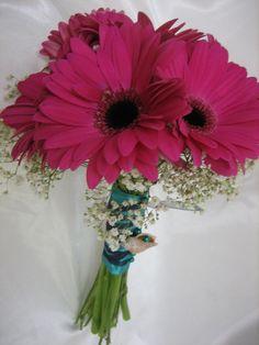 #gerbera daisy wedding Pink Gerbera Bouquet...do blue daisies for bridesmaid