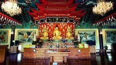 """Mu-Ryang-Sa Buddhist Temple is a Korean Bhuddist temple located in Honolulu, Oahu, Hawaii. The name means """"Broken Ridge"""" which refers to the temple's top ridge Buddhist Temple, Buddhist Art, Honolulu Hawaii, Oahu, Korean Traditional, Colorful, Explore, Buildings, Temples"""