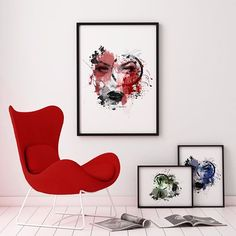 RED, green or blue? Interior Styling, Interior Design, Cool Wall Art, Blue Poster, Unique Poster, Online Posters, New Print, Poster Wall, Red Green