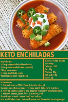 I didn't include the Jalepenos, green onions, tomatoes, or avocado because everyone's topping preferences will vary! Lupus Nephritis, Enchilada Sauce, Shredded Chicken, Green Onions, Enchiladas, Cheddar Cheese, Sour Cream, Tomatoes, Keto Recipes