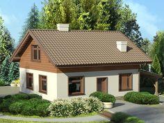 Jasny kolor elewacji i drewniane okładziny na ścianach szczytowych powodują, że dom pomimo niewielkich rozmiarów i prostej bryły wygląda bardzo przytulnie