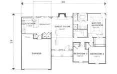 Traditional Style House Plan - 3 Beds 2 Baths 1291 Sq/Ft Plan #129-111 Main Floor Plan - Houseplans.com