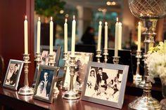 display com fotos de casamentos na família!