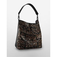 Calvin Klein Women's Andie Studded Hobo ($130) ❤ liked on Polyvore featuring bags, handbags, shoulder bags, black, calvin klein purse, black hobo handbags, studded shoulder bag, calvin klein handbags and black hobo purse