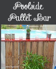 Poolside Pallet Bar. Create a poolside bar with pallets for your above ground pool. http://3glol.net/?utm_content=buffer45145&utm_medium=social&utm_source=pinterest.com&utm_campaign=buffer http://3glol.net?utm_content=buffera8b21&utm_medium=social&utm_source=pinterest.com&utm_campaign=buffer