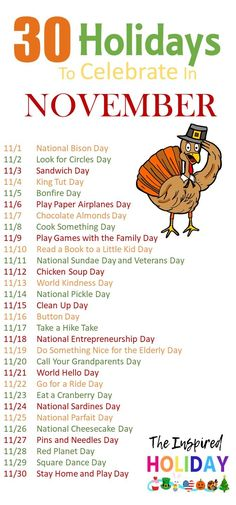 November is the perfect time to celebrate and not just Thanksgiving. November is packed with 30 holidays to celebrate all month long. Silly Holidays, November Holidays, Holidays And Events, Unusual Holidays, Random Holidays, National Celebration Days, Monthly Celebration, October Celebrations, Holiday List