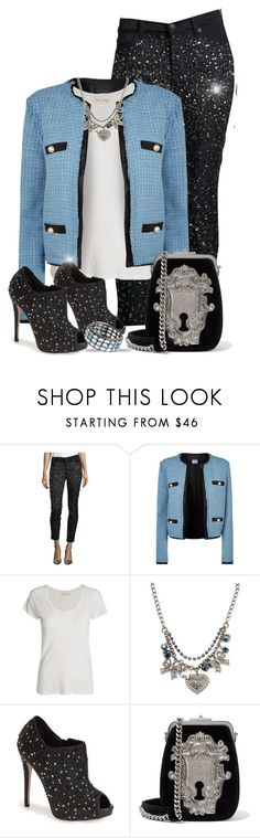 """""""Jeans with bling"""" by nicole-christie-mennen ❤ liked on Polyvore featuring 7 For All Mankind, Pinko, American Vintage, Betsey Johnson, Lauren Lorraine, Prada and Arthur Marder Fine Jewelry"""