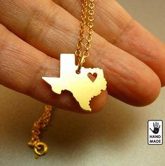 TEXAS State 24k Gold Plated  necklace custom heart by StefanoArt, $45.00