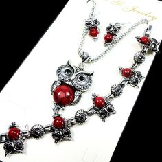 Fashion Jewelry lot Hot major Vintage Antique Silver Red Owl Jewelry Set Necklace Pendant Earring For Women Jewelry Sets LR112