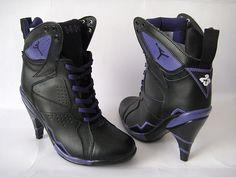 Photo by Tony Gaspard Jordan Boots, Jordan Heels, Jordan Shoes For Sale, Cheap Jordan Shoes, Air Jordan Shoes, Jordan 7, Nike High Heels, Black High Heels, High Heel Boots